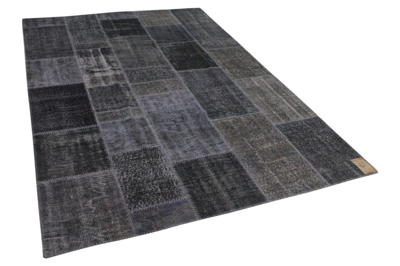 Donkergrijs patchwork vloerkleed 302cm x 211cm