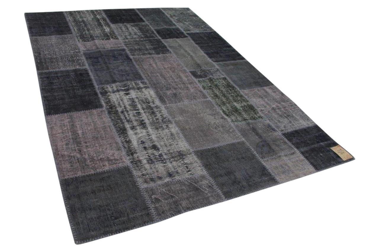 patchwork vloerkleed donkergrijs nr 13409