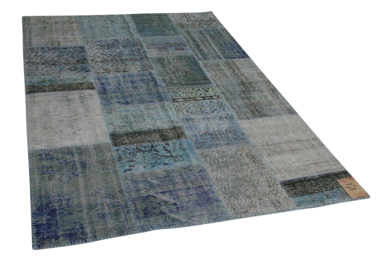 Blauw patchwork vloerkleed 244cm x 171cm