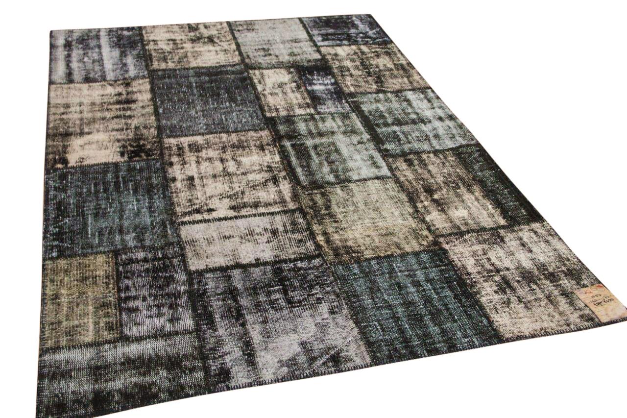 Zwart patchwork vloerkleed 1557