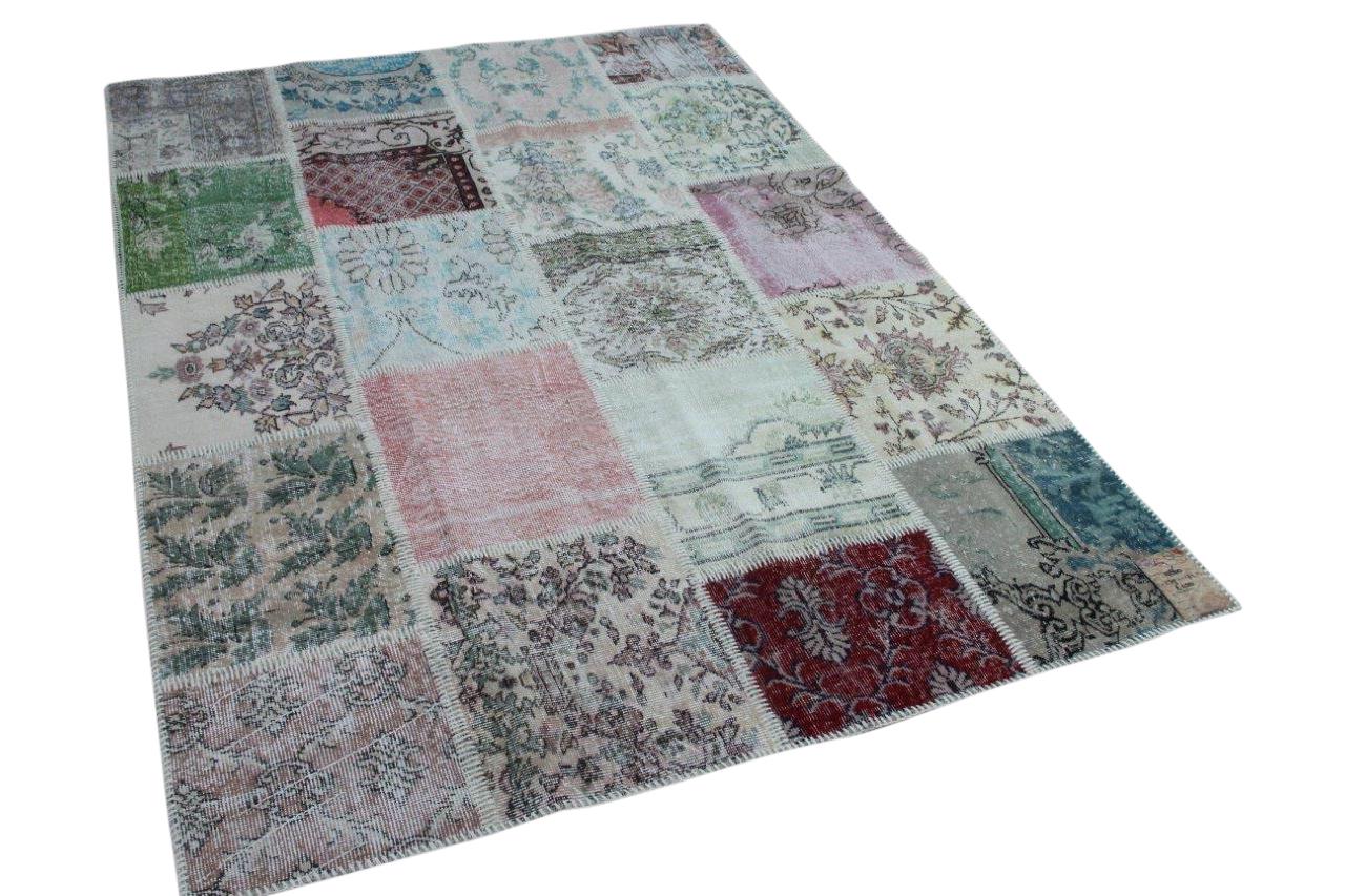 patchwork vloerkleed pastel tinten 239cm x 171cm