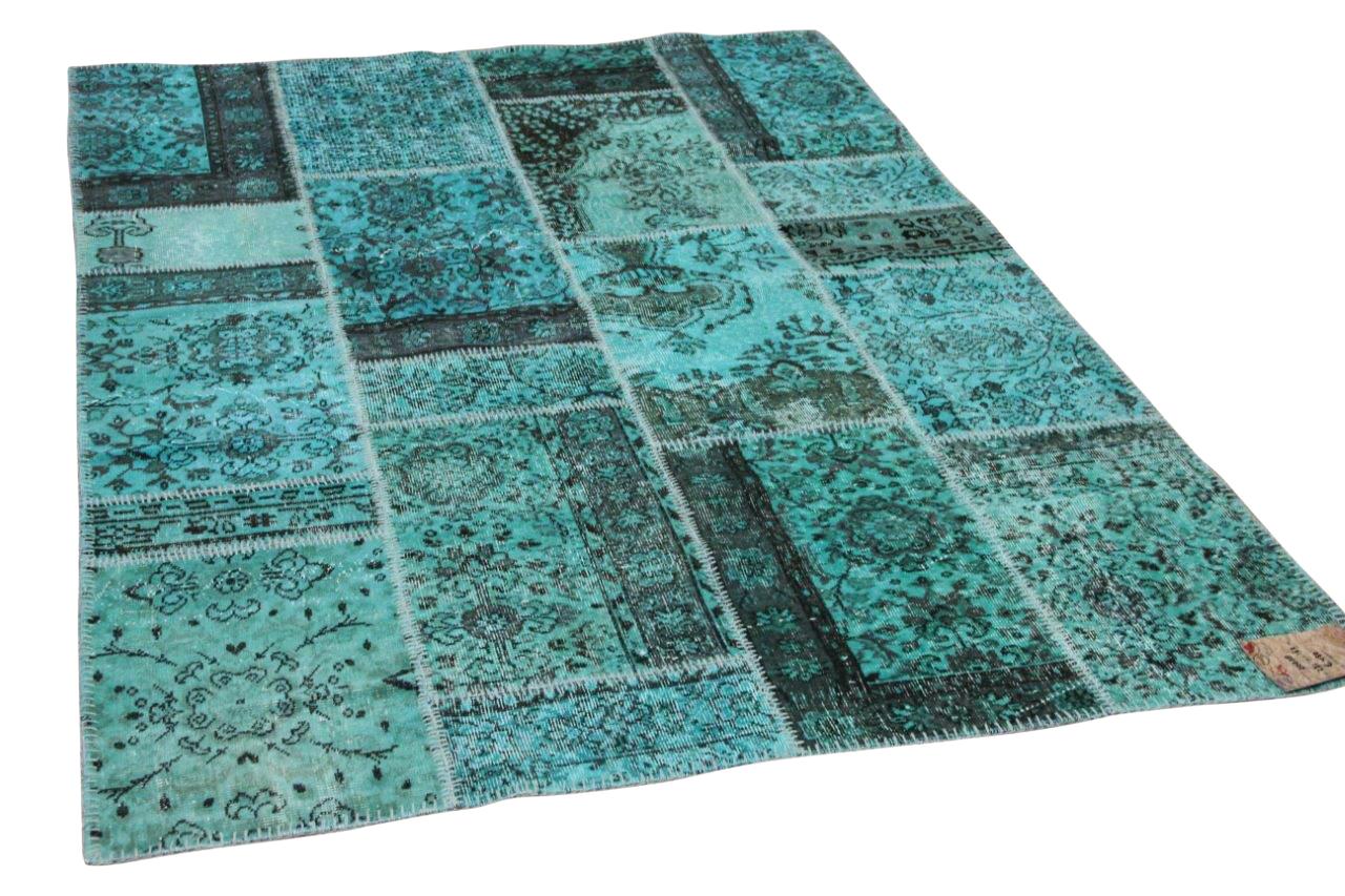 patchwork vloerkleed turquoise nr.20638 231cm x 162cm