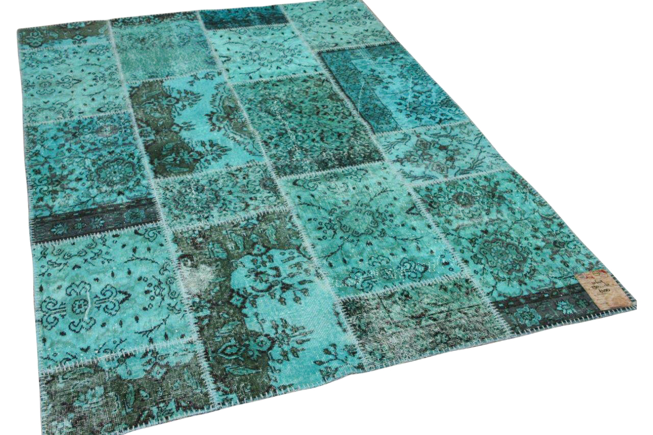 patchwork vloerkleed turquoise nr.20651 230cm x 161cm