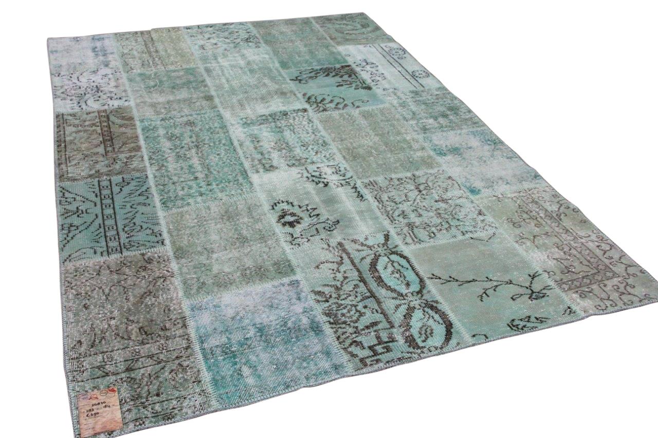 patchwork vloerkleed groen 285cm x 194cm