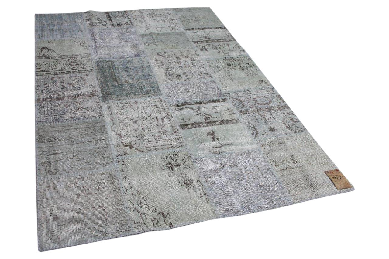 patchwork vloerkleed grijs blauw