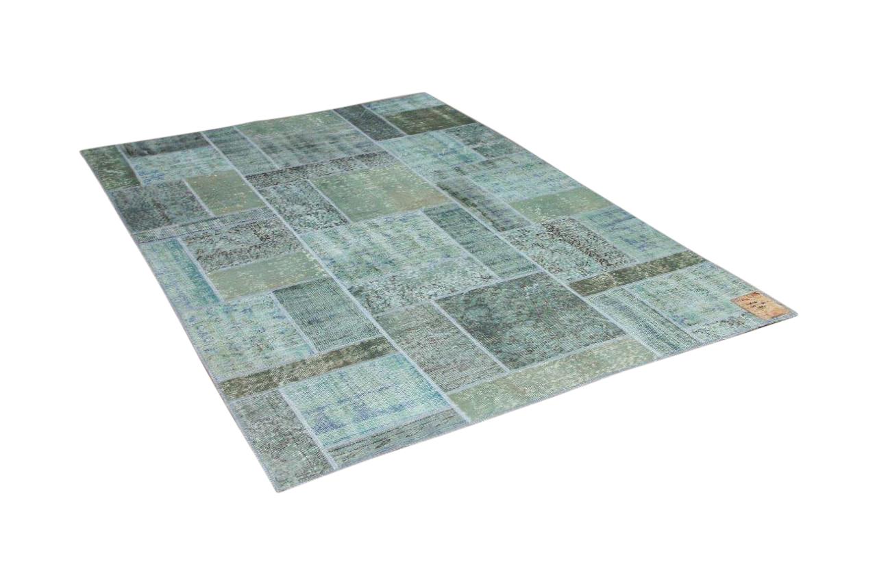 patchwork vloerkleed groen, blauw