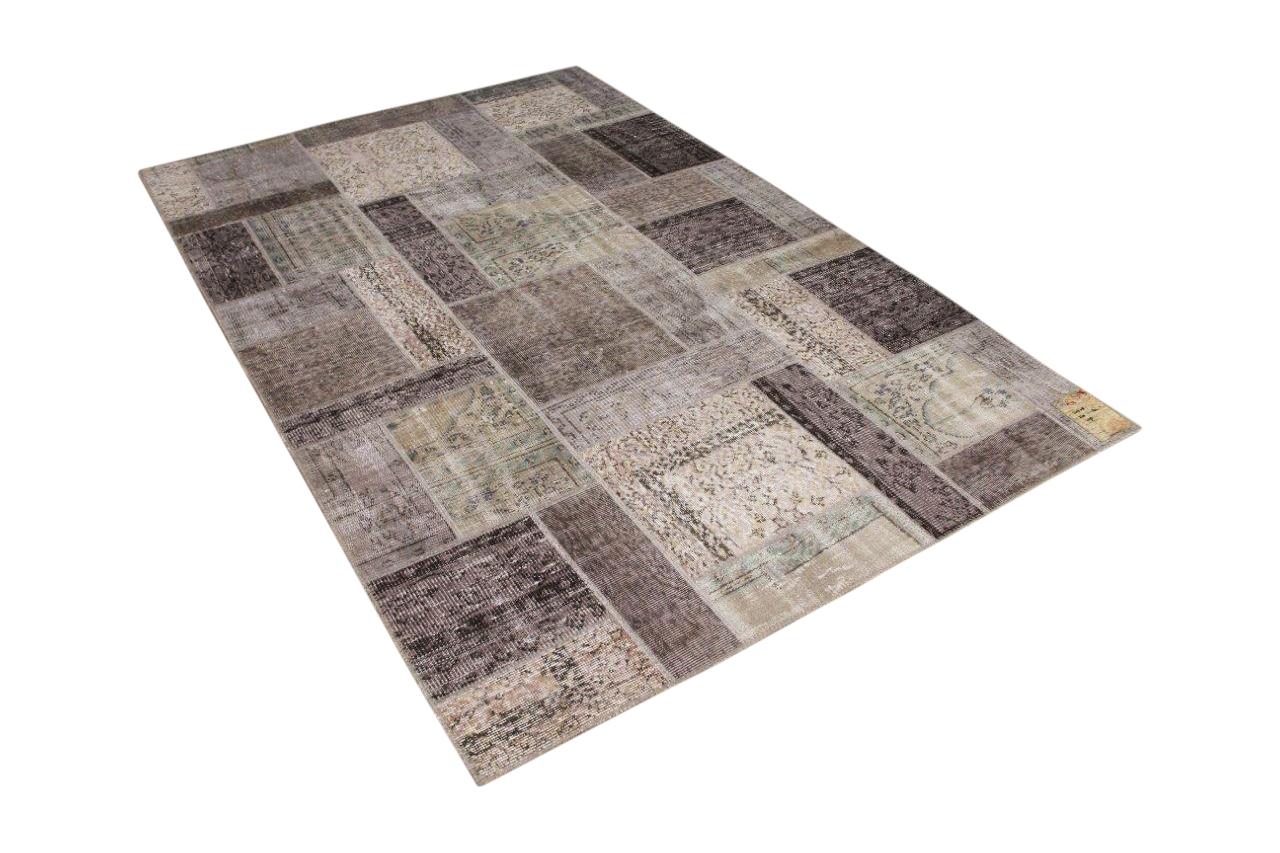 patchwork vloerkleed grijs