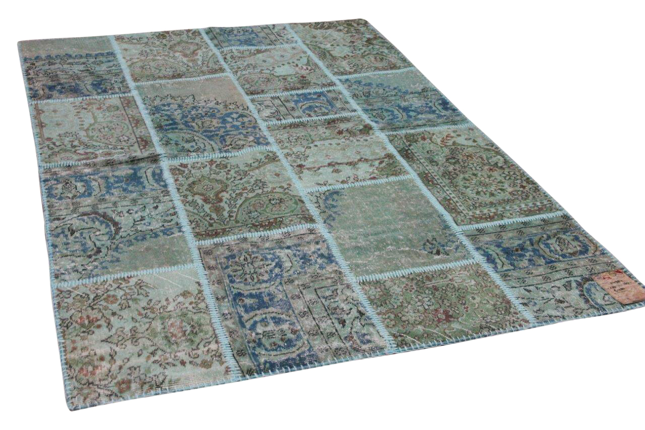 patchwork vloerkleed groen, blauw nr.24984 230cm x 160cm