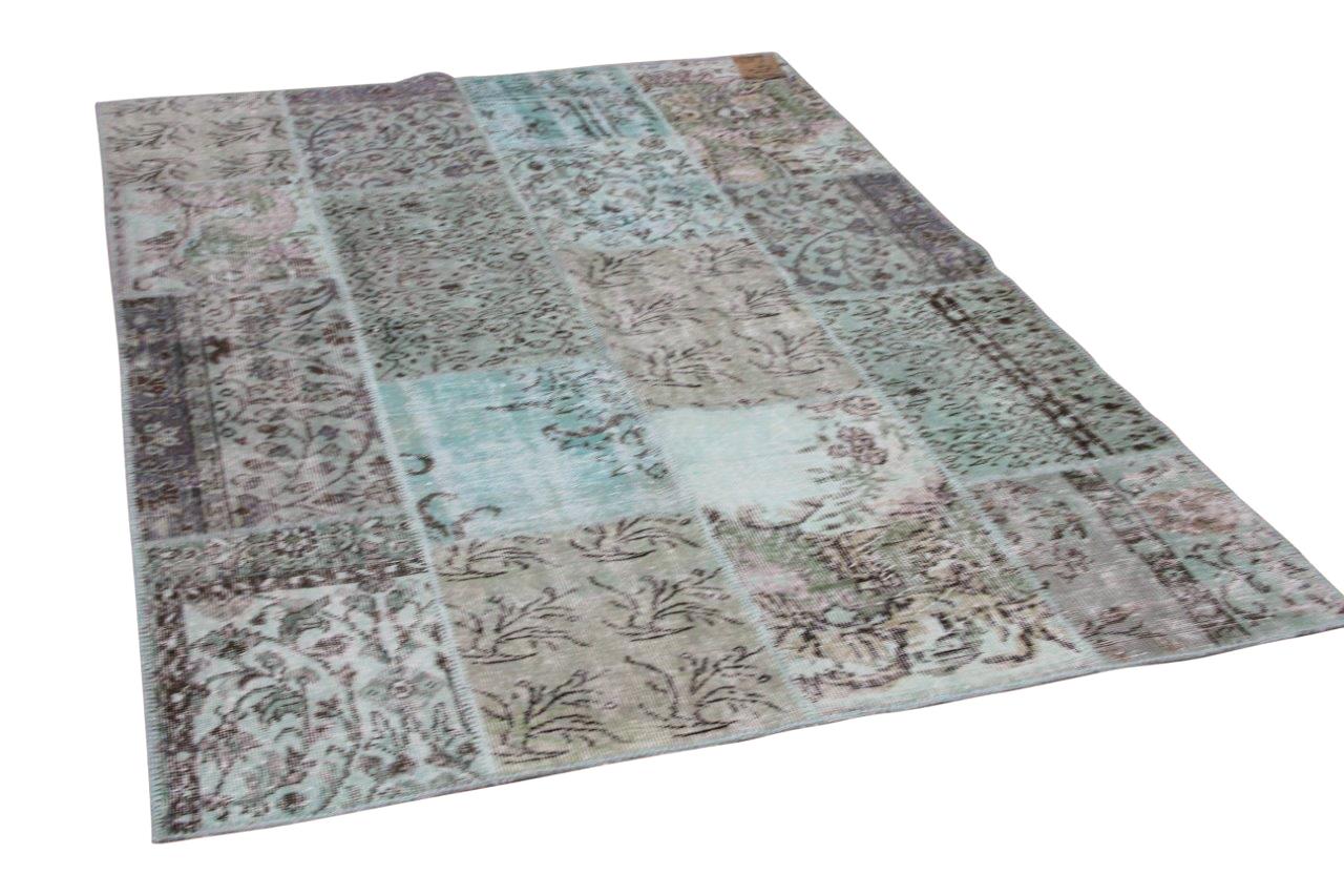 patchwork vloerkleed turquoise nr.26306 230cm x 160cm
