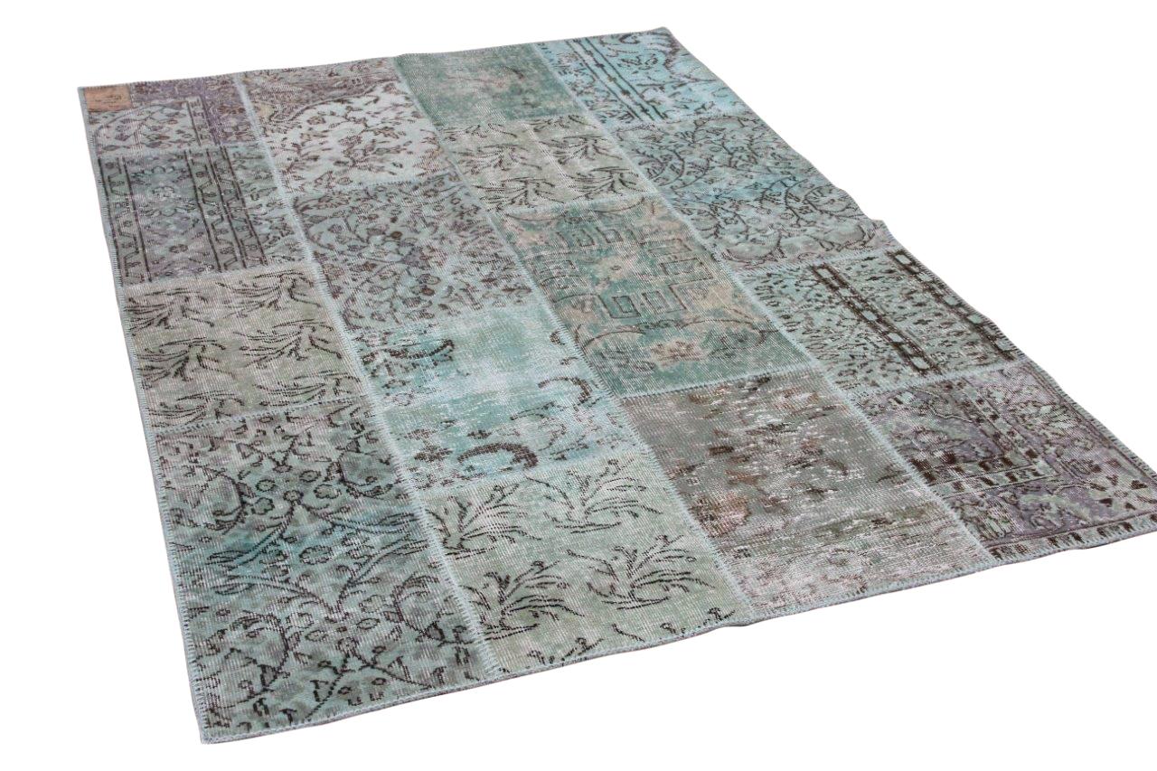 patchwork vloerkleed turquoise 230cm x 160cm