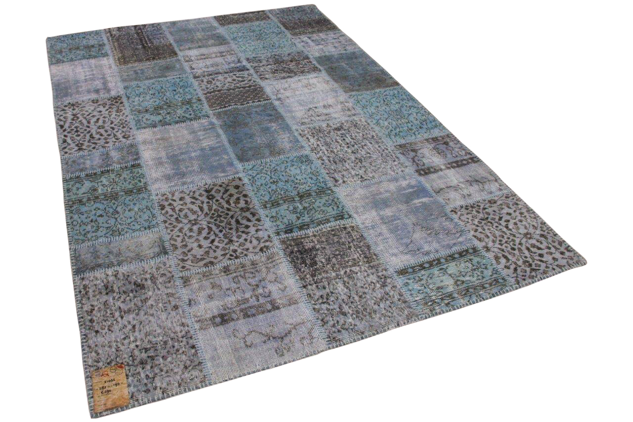 patchwork vloerkleed blauw nr.21032 283cm x 190cm