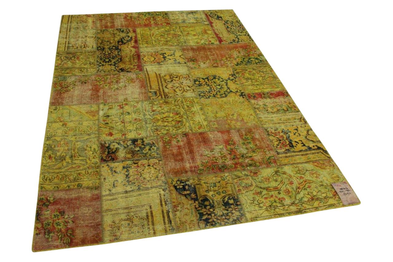 Okergeel patchwork vloerkleed