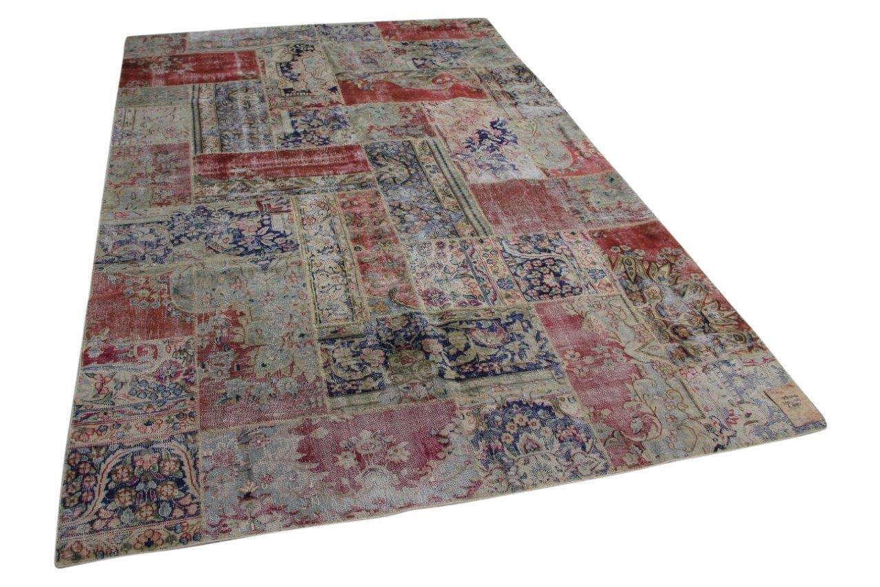 Vintage patchwork vloerkleed 58444 309cm x 207cm
