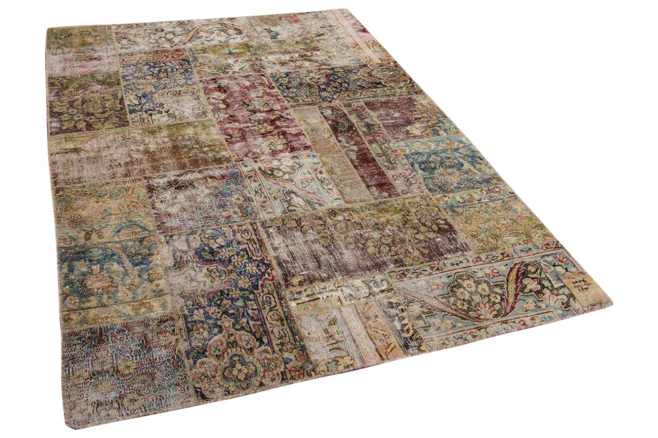 patchwork vloerkleed gemaakt van perzische vloerkleden 243cm x 173cm 58596
