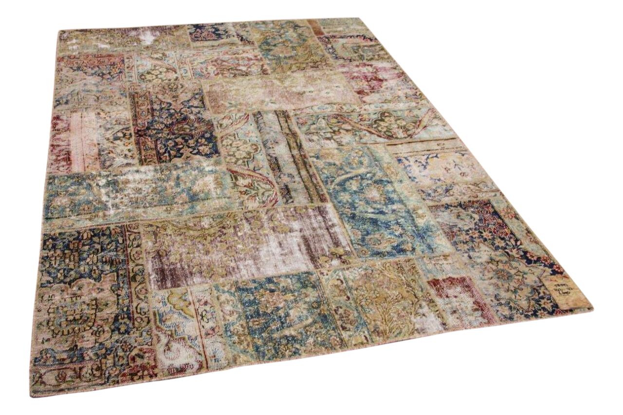 patchwork vloerkleed gemaakt van perzische vloerkleden 243cm x 173cm 58597