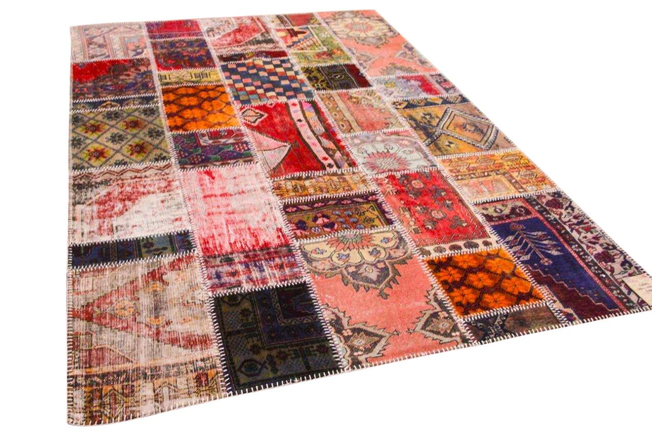 Patchwork vloerkleed  rood met diverse kleuren 304cm x 204cm