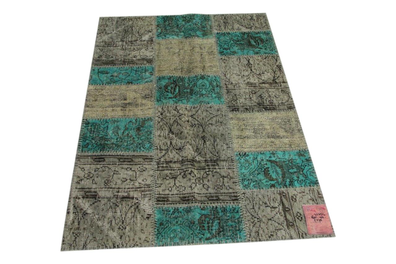 Grijs, aqua patchwork vloerkleed 160cm x 110cm nr71354