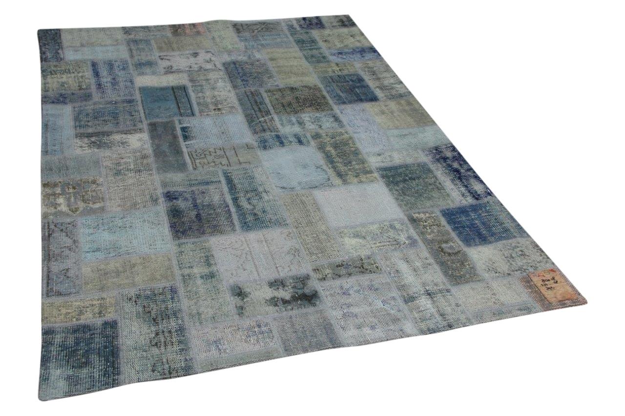 ijsblauw patchwork vloerkleed