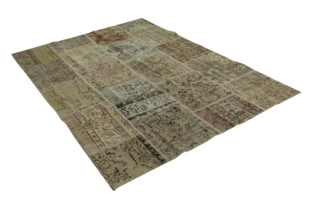 patchwork vloerkleed vintage zandkleurig 240cm x 170cm