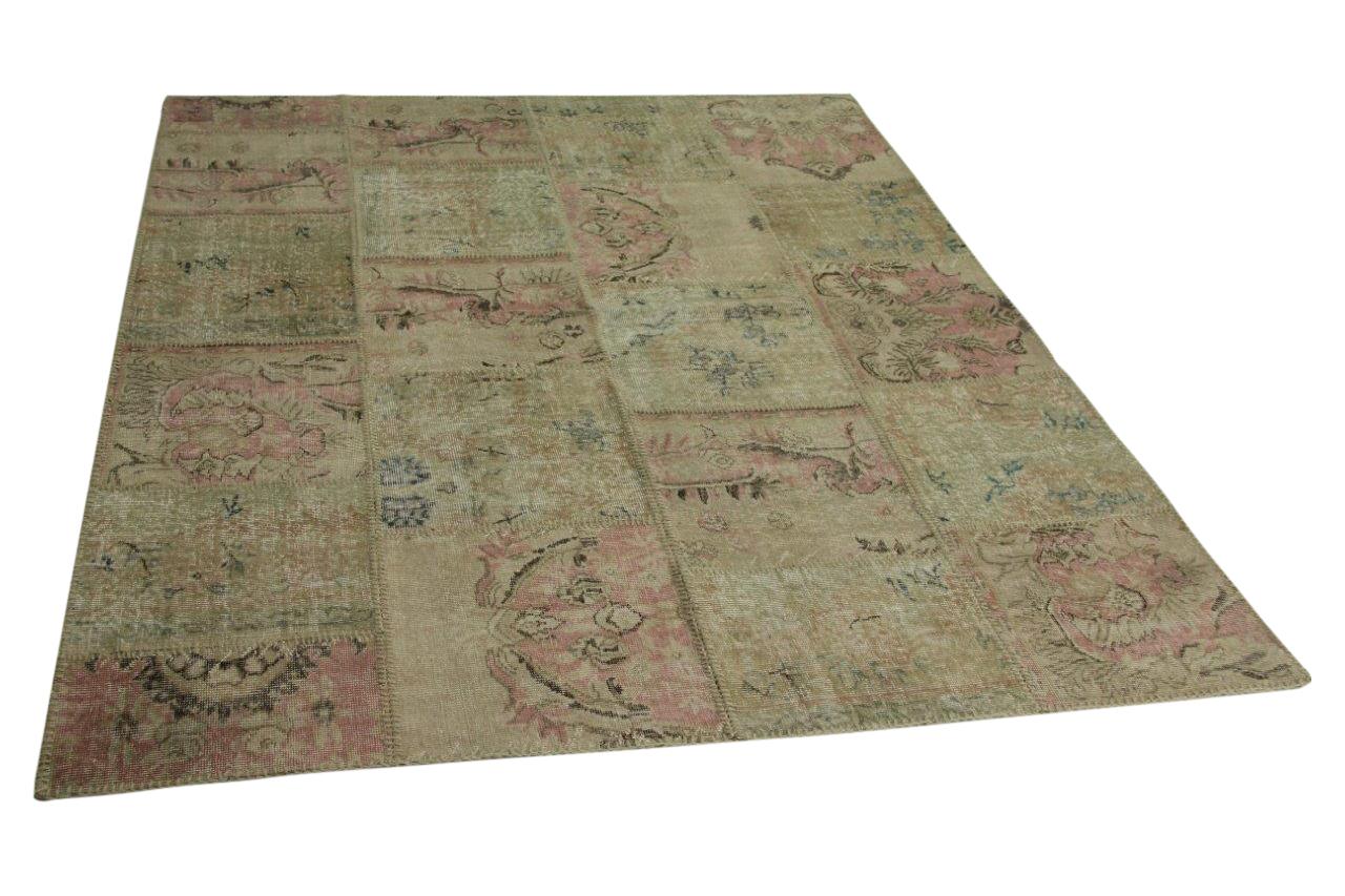 patchwork vloerkleed met roze 246cm x 202cm nr5546