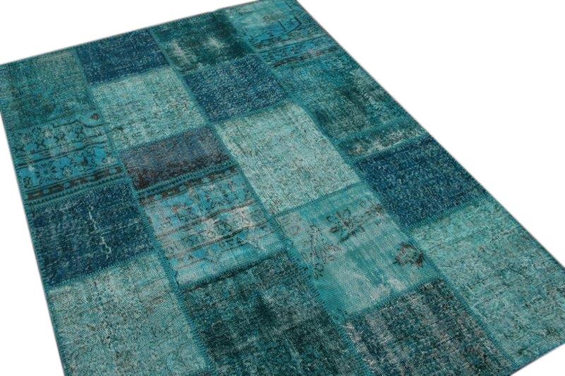 Blauw patchwork vloerkleed 240cm x 170cm 7436
