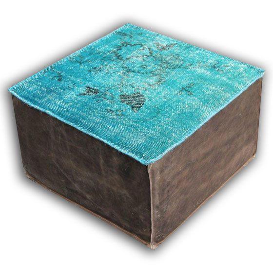 Leren poef van recolored vloerkleed 502 (60cm x 60cm x 35cm hoog)