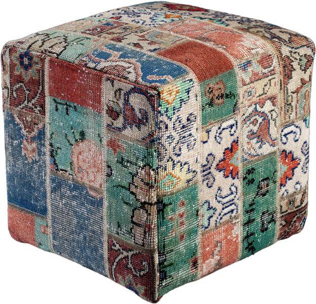 Poef gemaakt uit recoloured vloerkleden. 40cm x 40cm x 40cm Kleur meerdere(niet op voorraad, levertijd 3 weken)