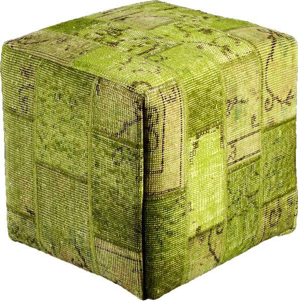 Poef gemaakt uit recoloured vloerkleden. 40cm x 40cm x 40cm Kleur groen (niet op voorraad, levertijd 3 weken)