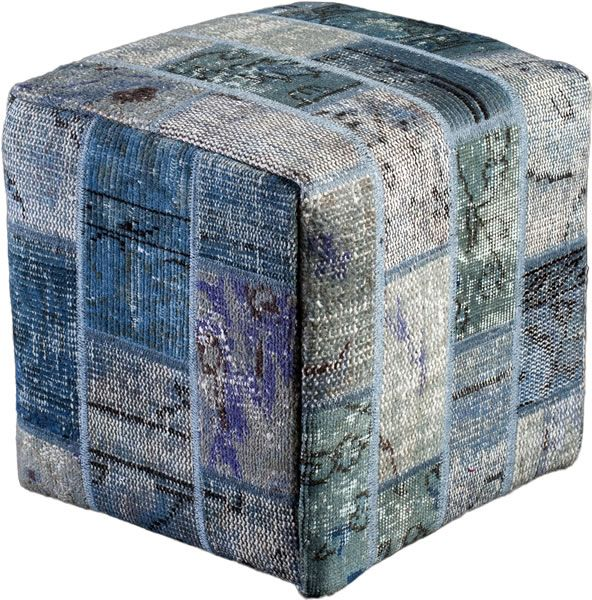 Poef gemaakt uit recoloured vloerkleden. 40cm x 40cm x 40cm Kleur blauw (niet op voorraad, levertijd 3 weken)
