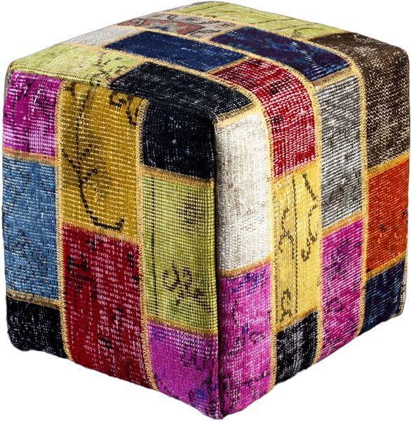 Poef gemaakt uit recoloured vloerkleden. 40cm x 40cm x 40cm Kleur meerdere (op voorraad)