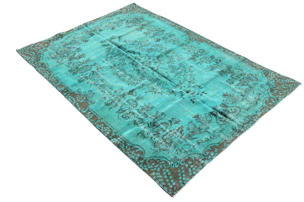 Recoloured vintage fel blauw vloerkleed nr 509     (258cm x 173cm) Gereserveerd!