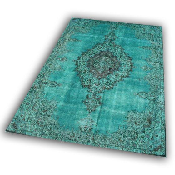 Recoloured blauw perzisch tapijt no 8 (336cm x 237cm)