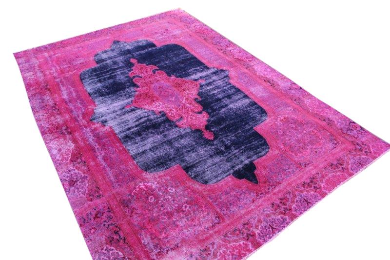 Paars met blauw tapijt vloerkleed 372cm x 250cm  (nr4835)