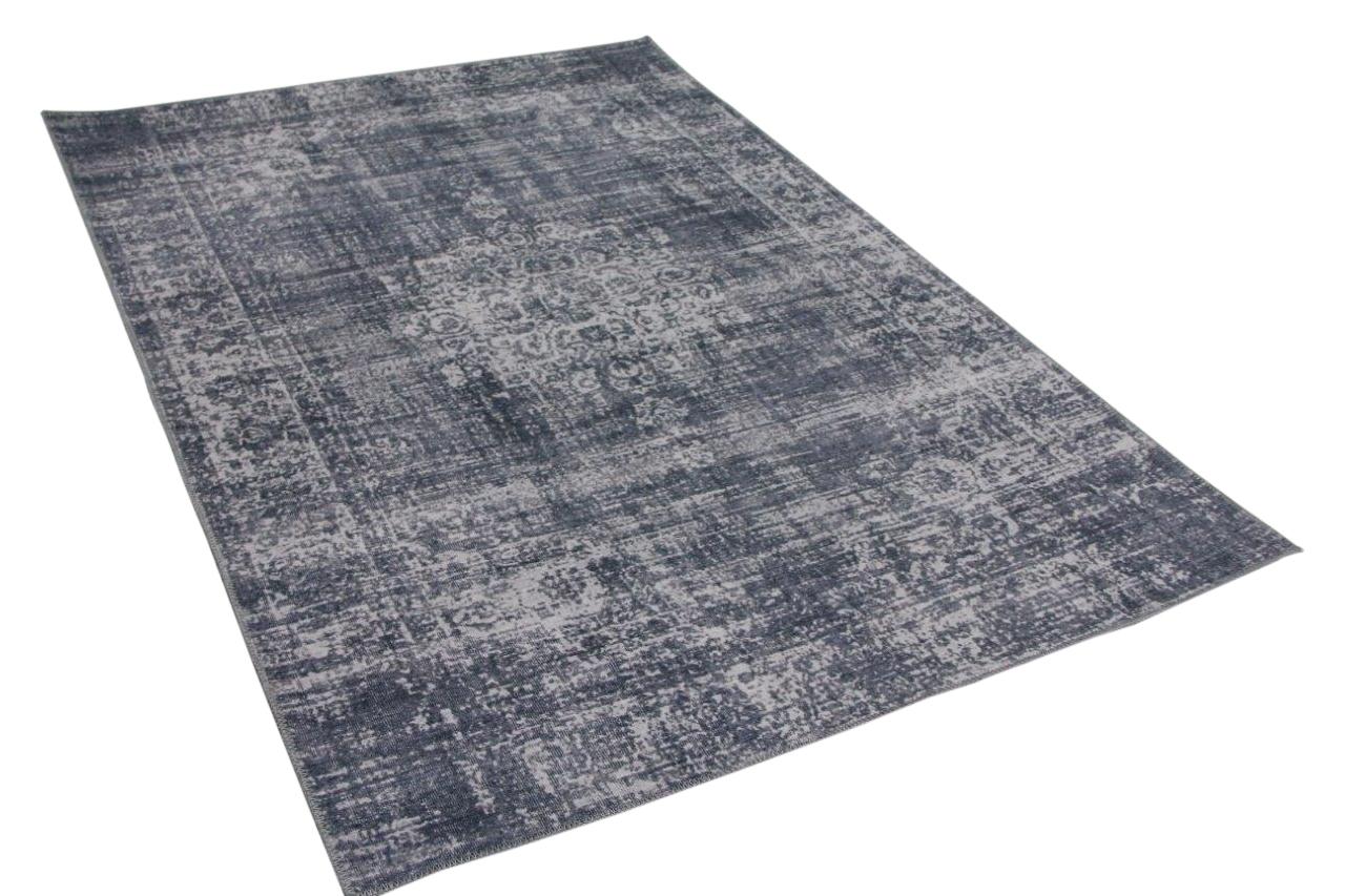 Vintage look vloerkleed grijsblauw