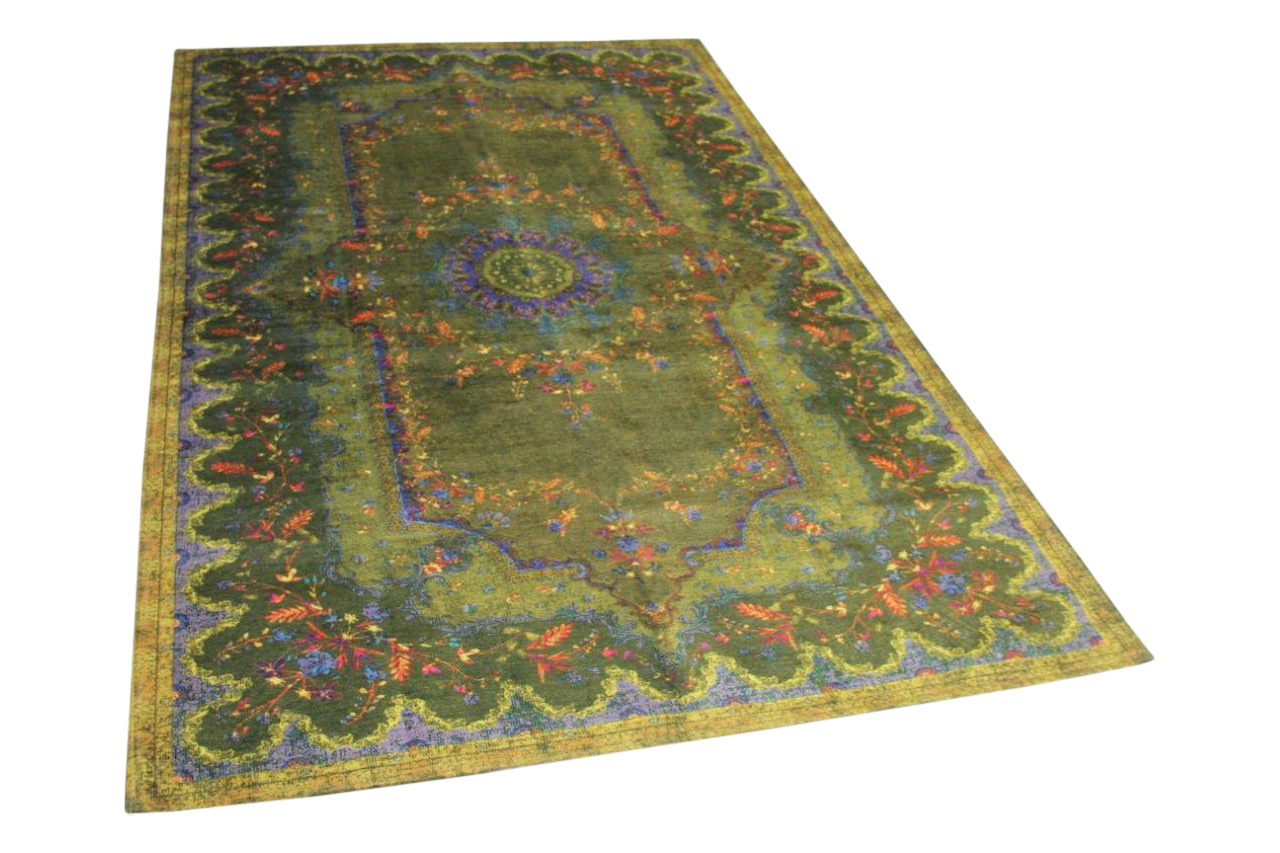vintage look vloerkleed groen 9450