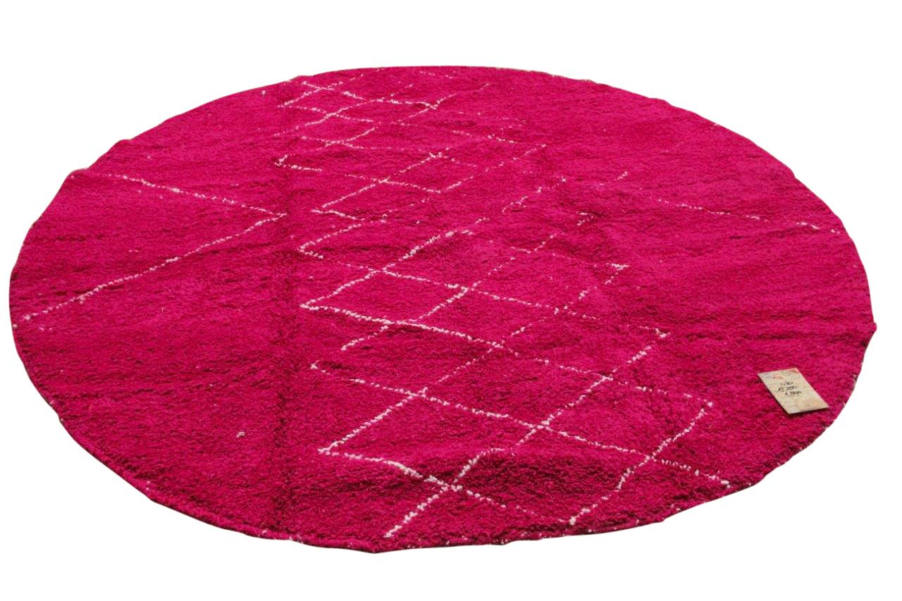 Rond beni ouarain vloerkleed roze 250cm doorsnee