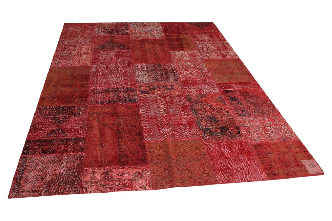 Rood patchwork vloerkleed 304cm x 214cm nr17843