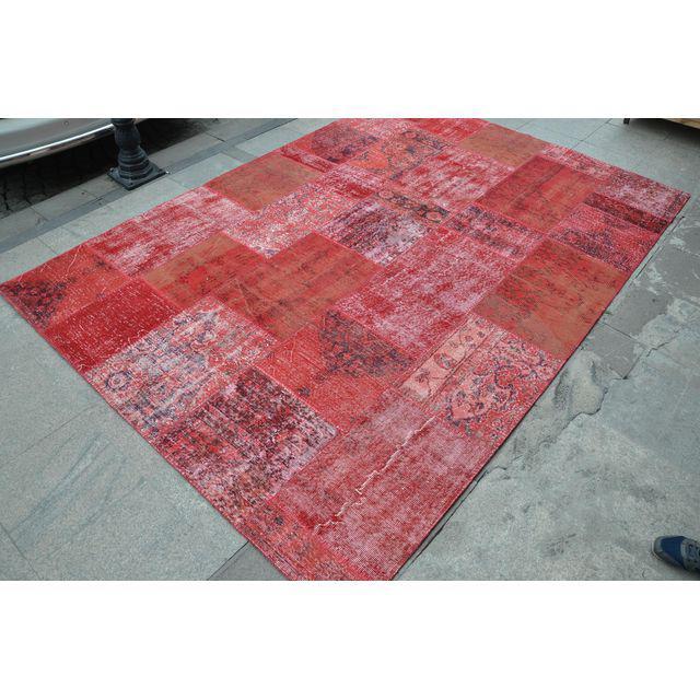 Rood patchwork vloerkleed 300cm x 200cm nr35668