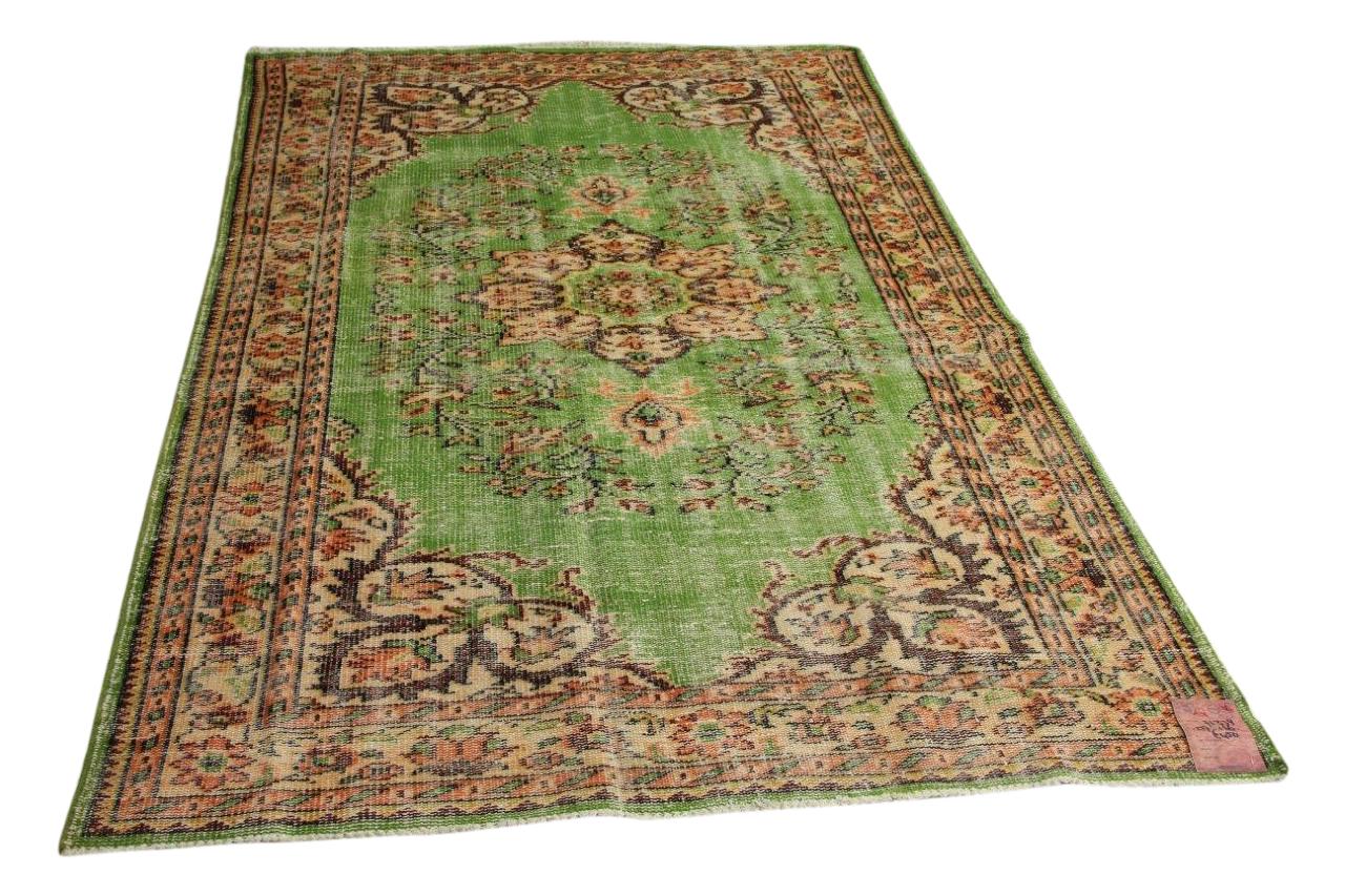 vintage vloerkleed groen 257cm x 166cm