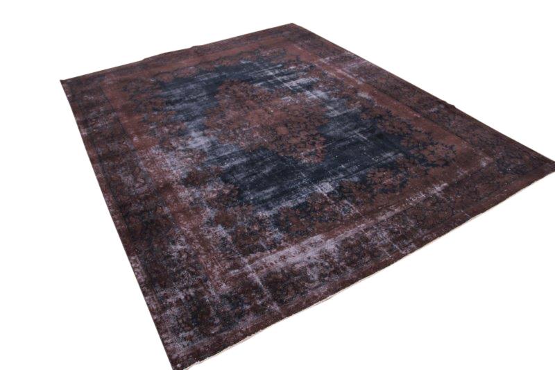 Vintage vloerkleed, bruin met donkerblauw, 369cm x 288cm