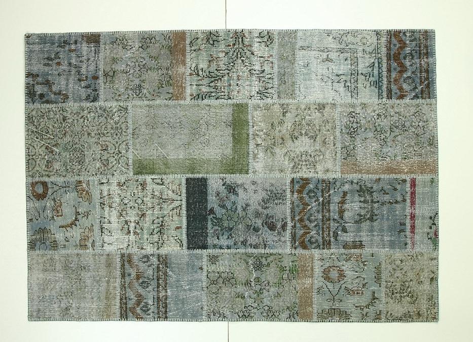 Vintage grijs blauw patchwork vloerkleed 240cm x 170cm (nr7341)