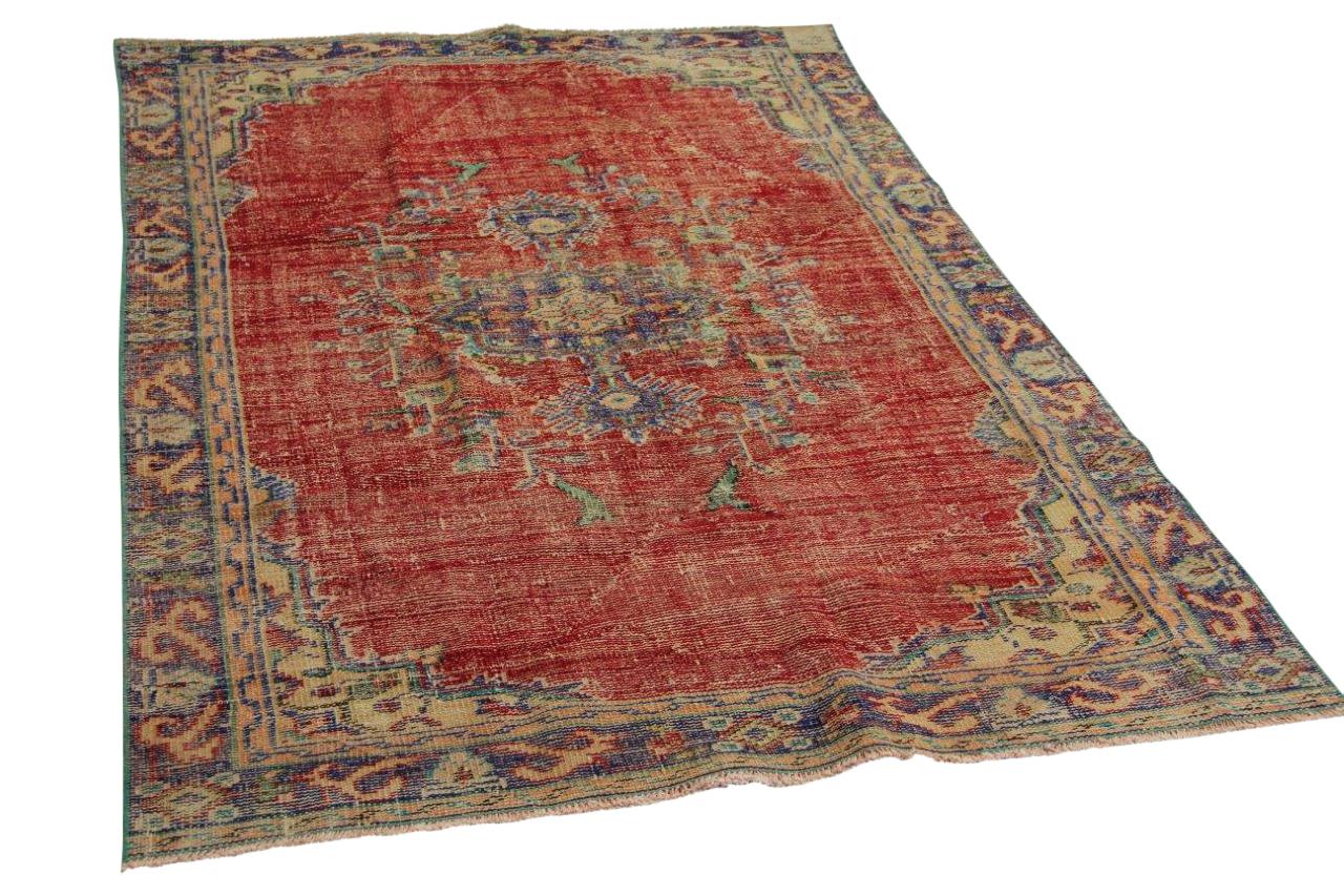 Vintage vloerkleed rood 227cm x 150cm nr126300