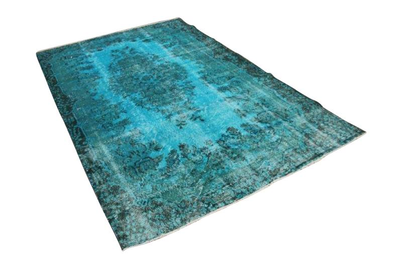 vintage vloerkleed aquablauw 282cm x 173cm