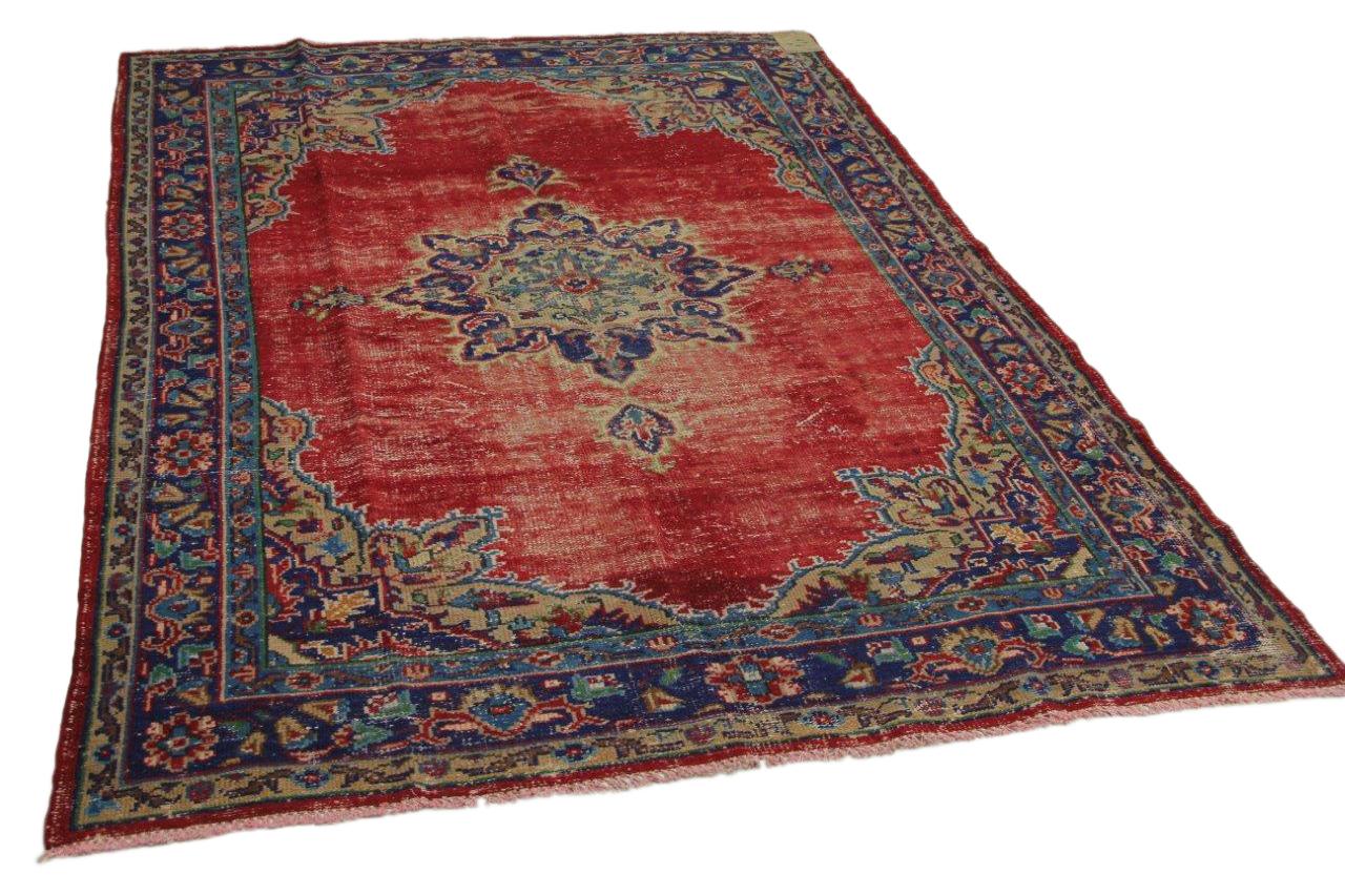 Vintage vloerkleed rood, blauw 262cm x 183cm nr12601