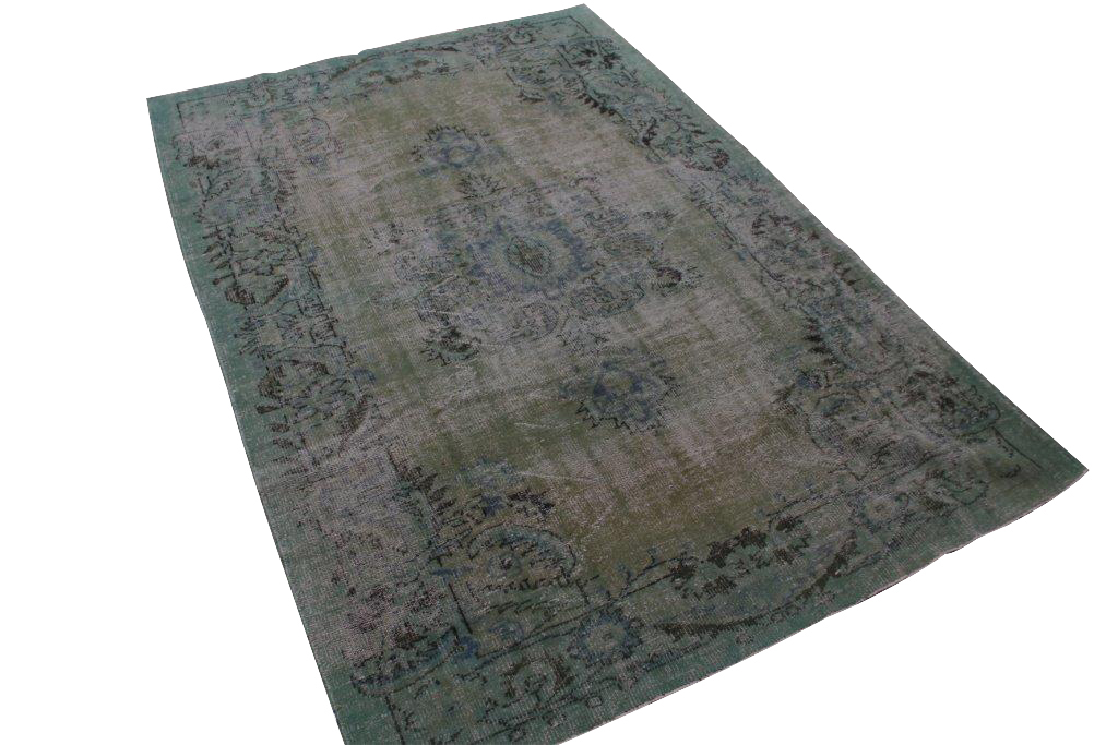 Groen met blauw vintage vloerkleed nr 1432 (282cm x 193cm) Gratis bezorging, niet tevreden is geld terug!