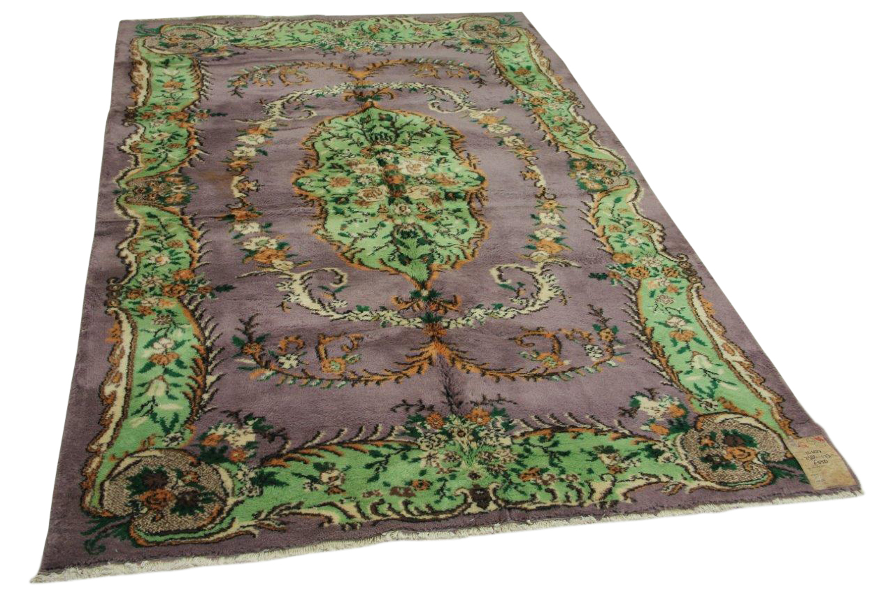 Vintage vloerkleed paars, groen 278cm x 173cm nr14437