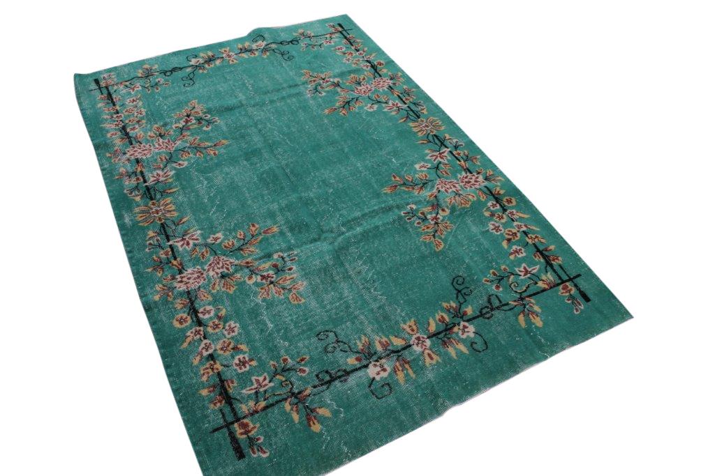Groen vintage vloerkleed nr 1610 (255cm x 174cm) Gratis bezorging, niet tevreden is geld terug!