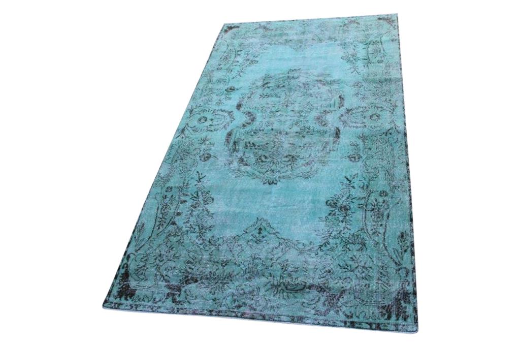 NIEUW INGEKOCHT  zeegroen vintage vloerkleed  uit Turkije 283cm x 164cm, no 4608