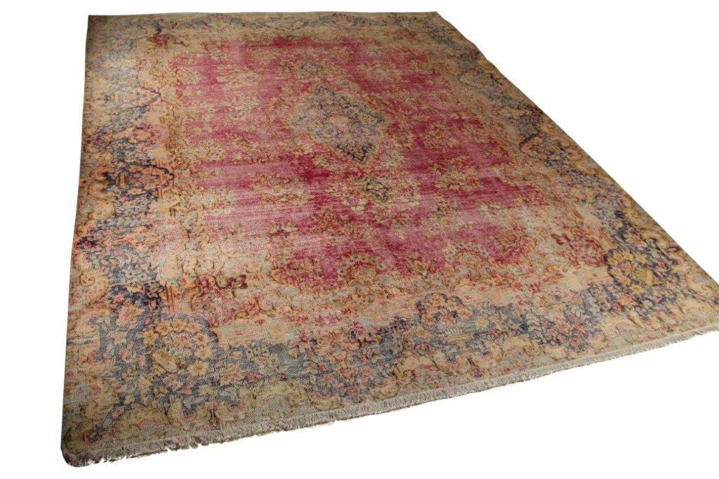 Rood, donkerblauw vintage vloerkleed 377cm x 298cm