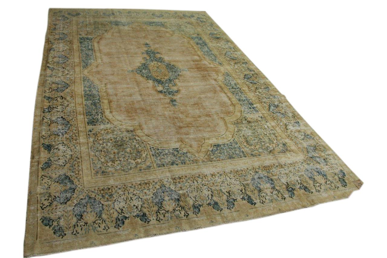 Vintage vloerkleed zandkleurig met blauw 457cm x 292cm nr56956